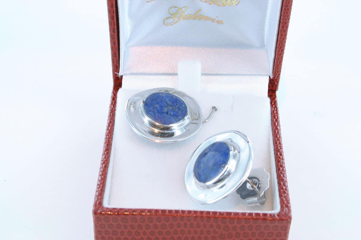 boucles d oreilles en lapis lazuli et argent 925 par 1000 BO-LA-LA-AR-011