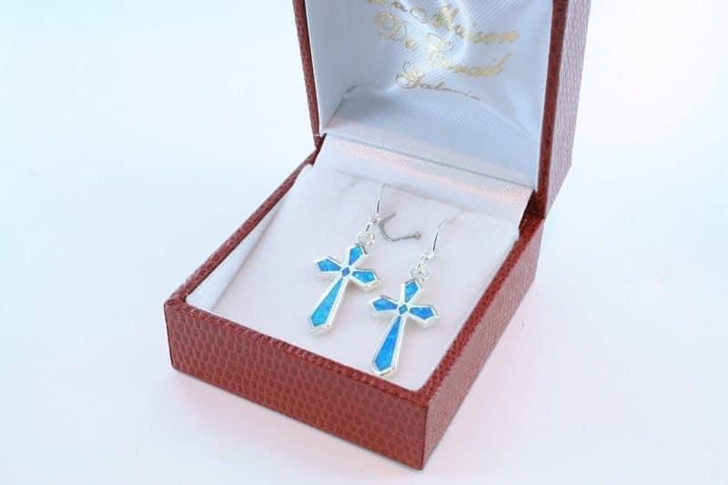 boucles d oreilles en opale bleu et argent 925 par 1000 BO-OP-BL-003