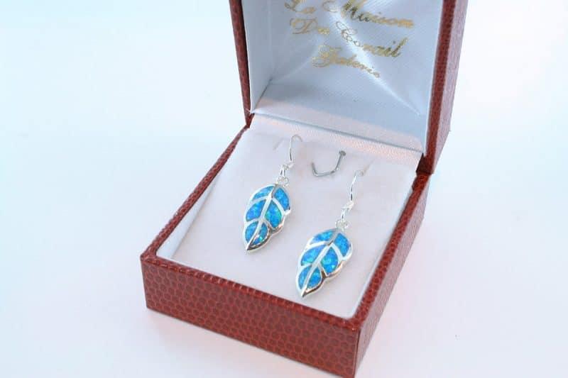 boucles d oreilles en opale bleu et argent 925 par 1000 BO-OP-BL-005