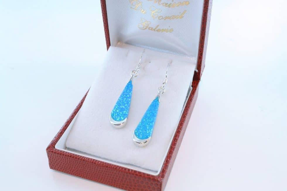 boucles d oreilles en opale bleu et argent 925 par 1000 BO-OP-BL-008