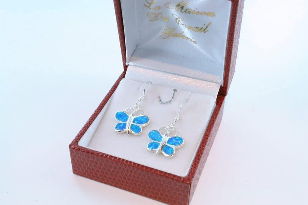 boucles d oreilles en opale bleu et argent 925 par 1000 BO-OP-BL-012