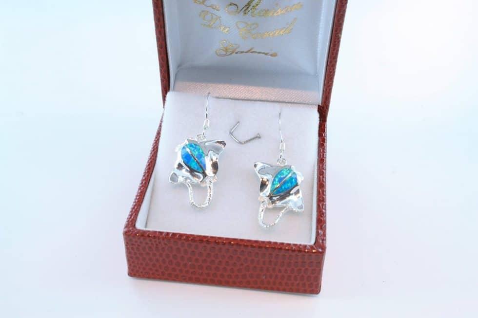 boucles d oreilles en opale bleu et argent 925 par 1000 BO-OP-BL-014