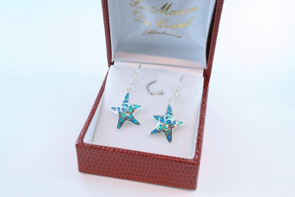 boucles d oreilles en opale bleu et argent 925 par 1000 BO-OP-BL-017