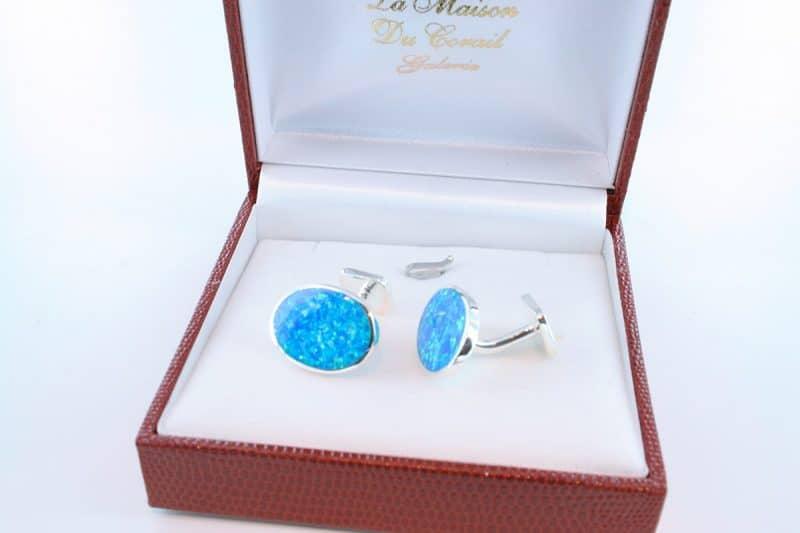 boutons de manchettes en opale bleu et argent 925 par 1000 BM-OP-BL-002