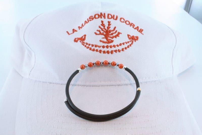 Bracelet corail rouge et argent BR CO AR 1186