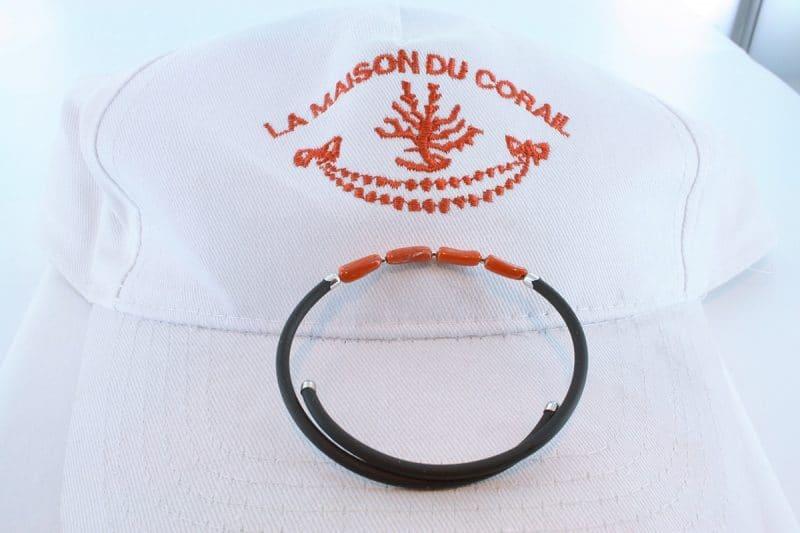 Bracelet corail rouge et argent BR CO AR 1187
