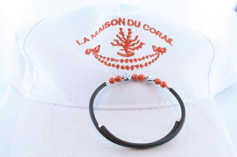 Bracelet corail rouge et argent BR CO AR 1190