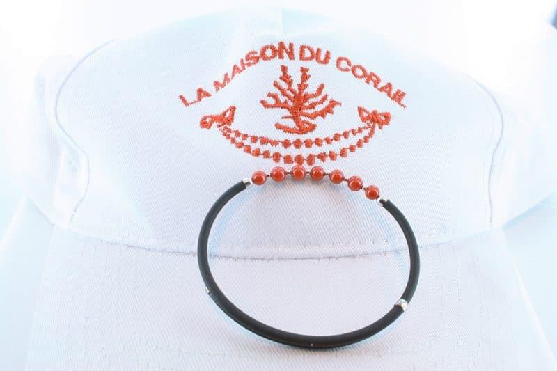 Bracelet corail rouge et argent BR CO AR 1194