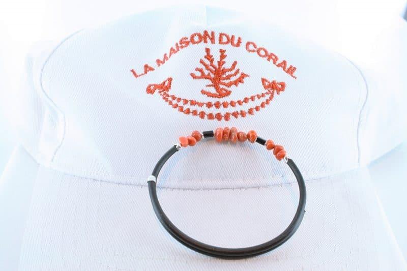 Bracelet corail rouge et argent BR CO AR 1196