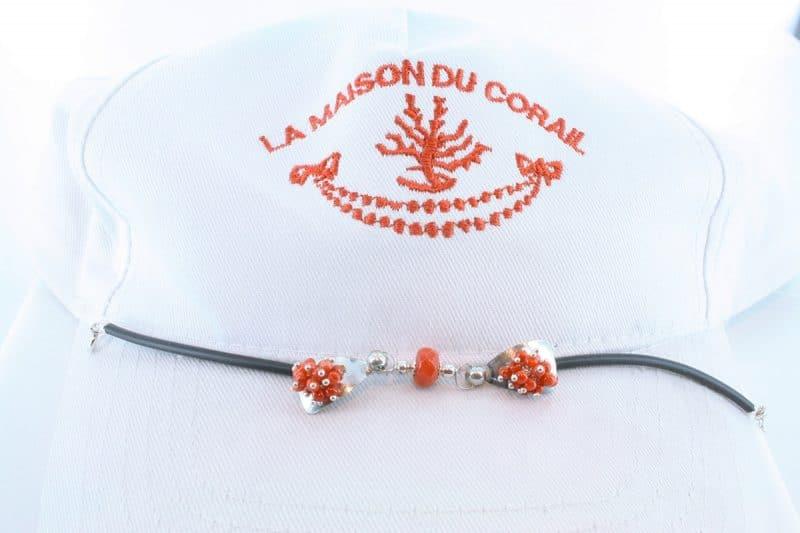 Bracelet corail rouge et argent BR CO AR 1199