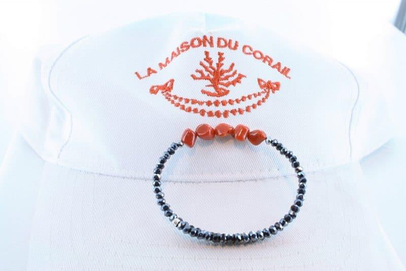 Bracelet corail rouge et argent BR CO AR 1208