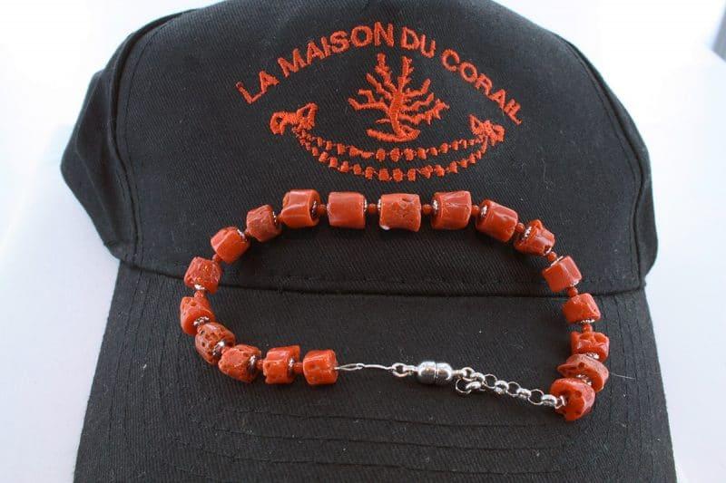Bracelet corail rouge et argent BR CO AR 1214