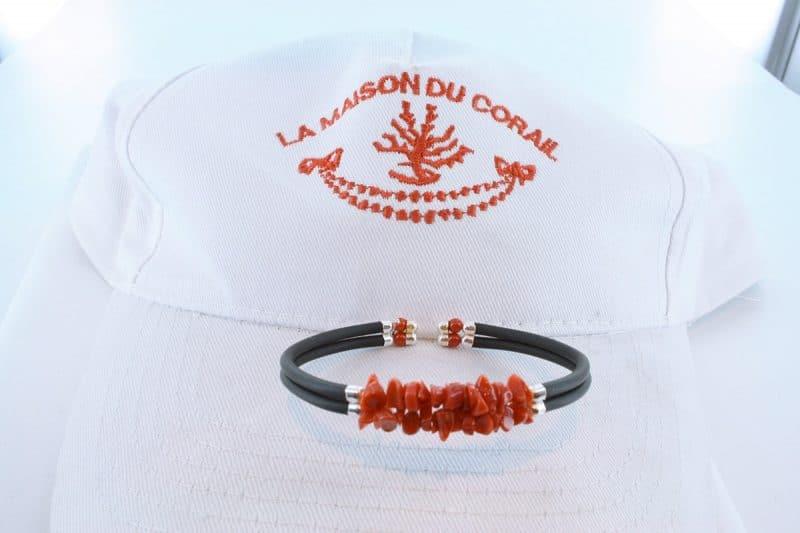 Bracelet corail rouge et argent BR CO AR 1216