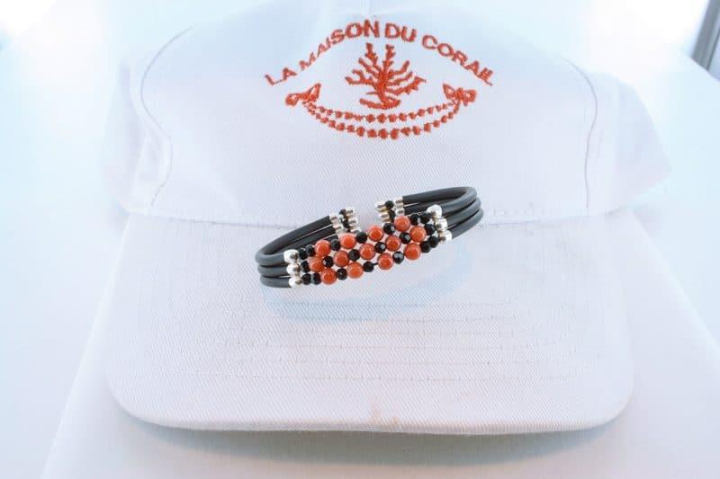 Bracelet corail rouge et argent BR CO AR 1220