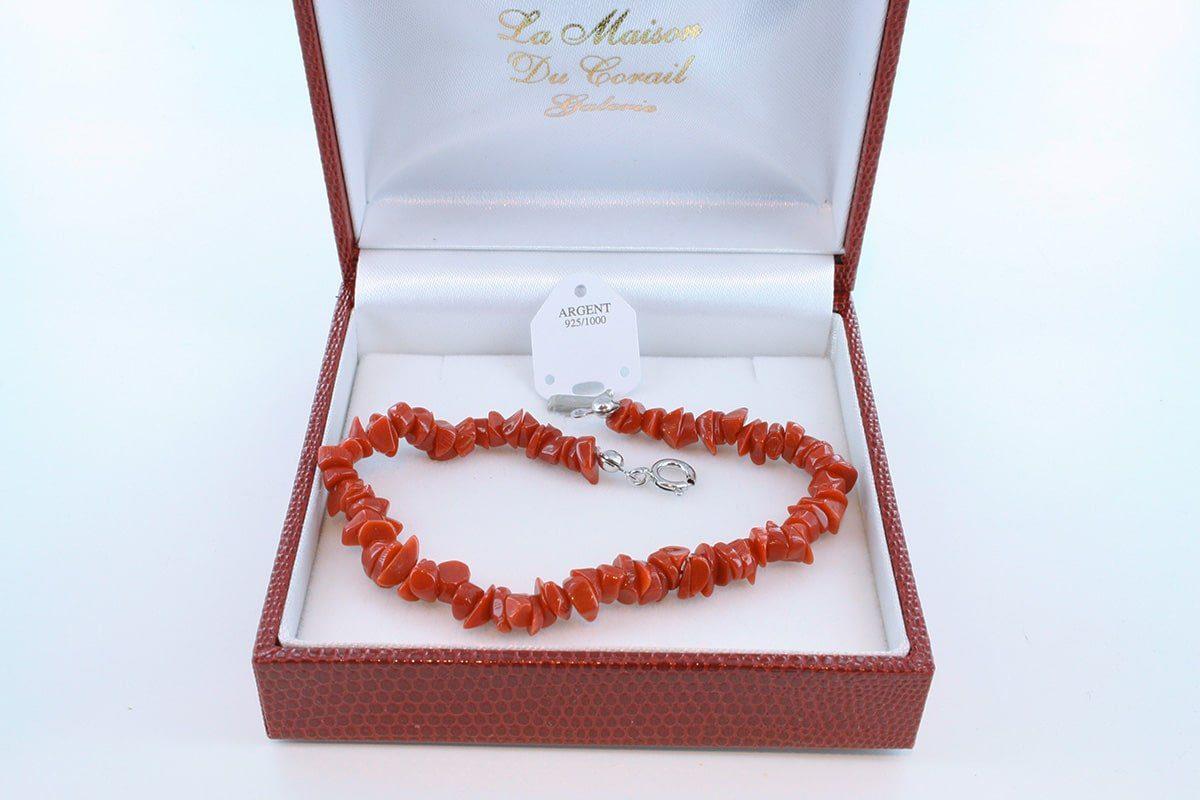 Bracelet en corail rouge véritable de Méditerranée et argent 925 par 1000 BR-CO-AR-005