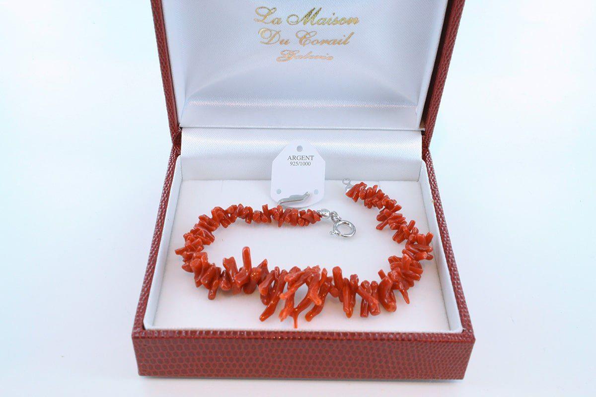 Bracelet en corail rouge véritable de Méditerranée et argent 925 par 1000 BR-CO-AR-006