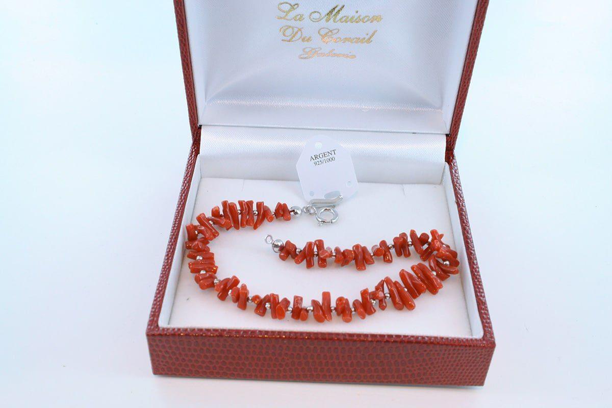 Bracelet en corail rouge véritable de Méditerranée et argent 925 par 1000 BR-CO-AR-010