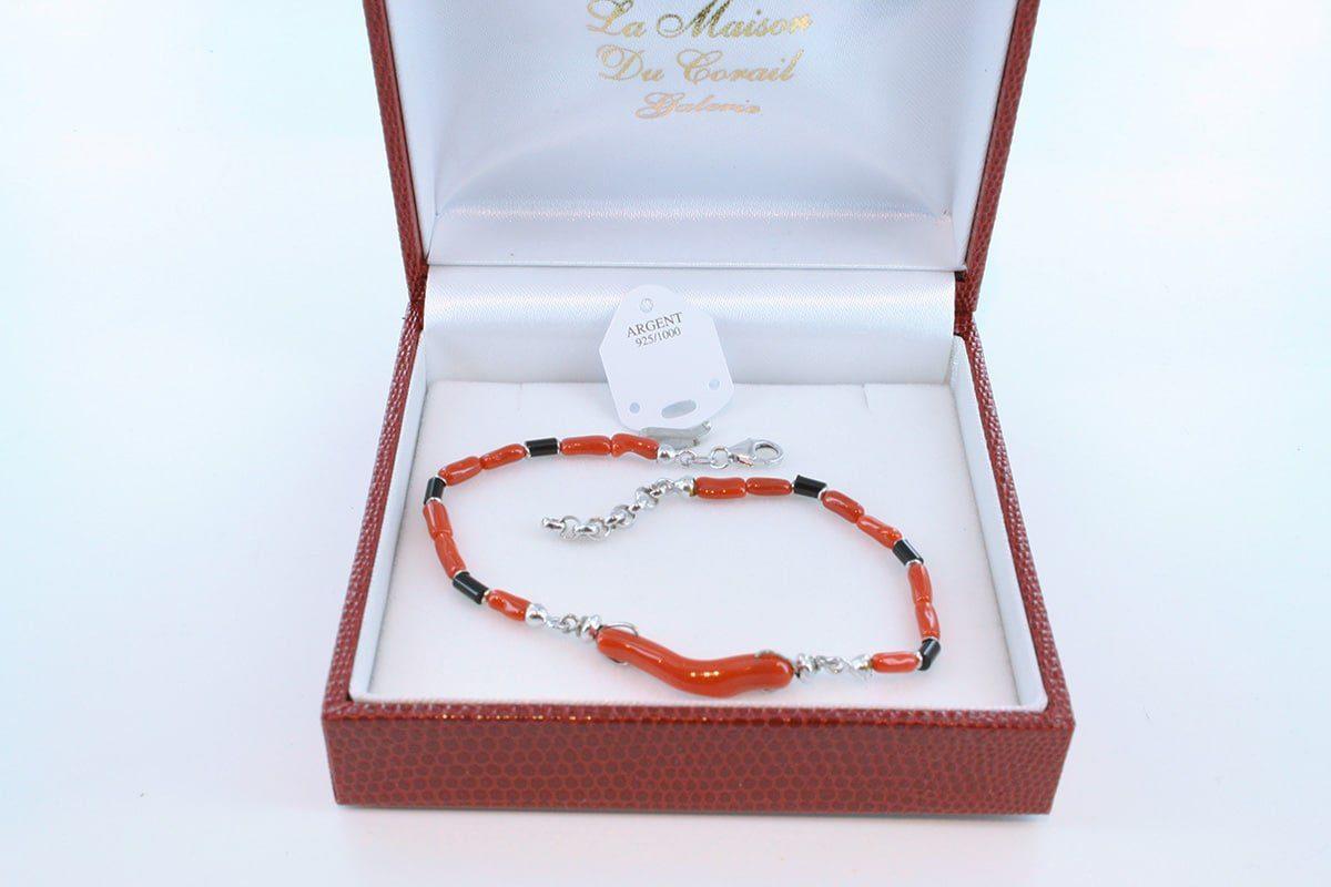 Bracelet en corail rouge véritable de Méditerranée et argent 925 par 1000 BR-CO-AR-012