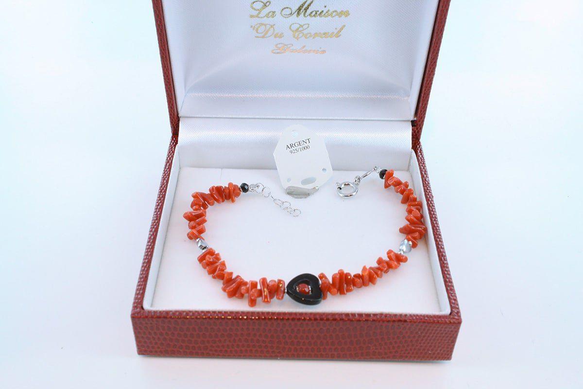 Bracelet en corail rouge véritable de Méditerranée et argent 925 par 1000 BR-CO-AR-021