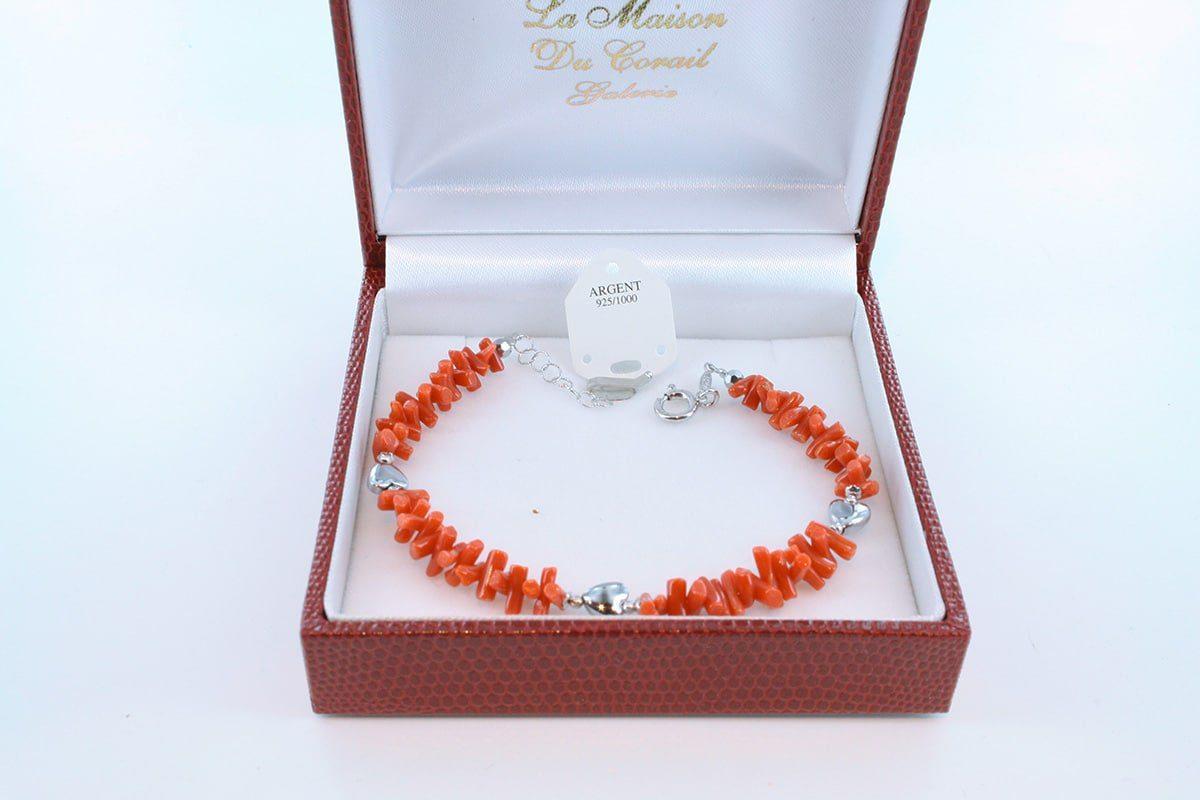 Bracelet en corail rouge véritable de Méditerranée et argent 925 par 1000 BR-CO-AR-024