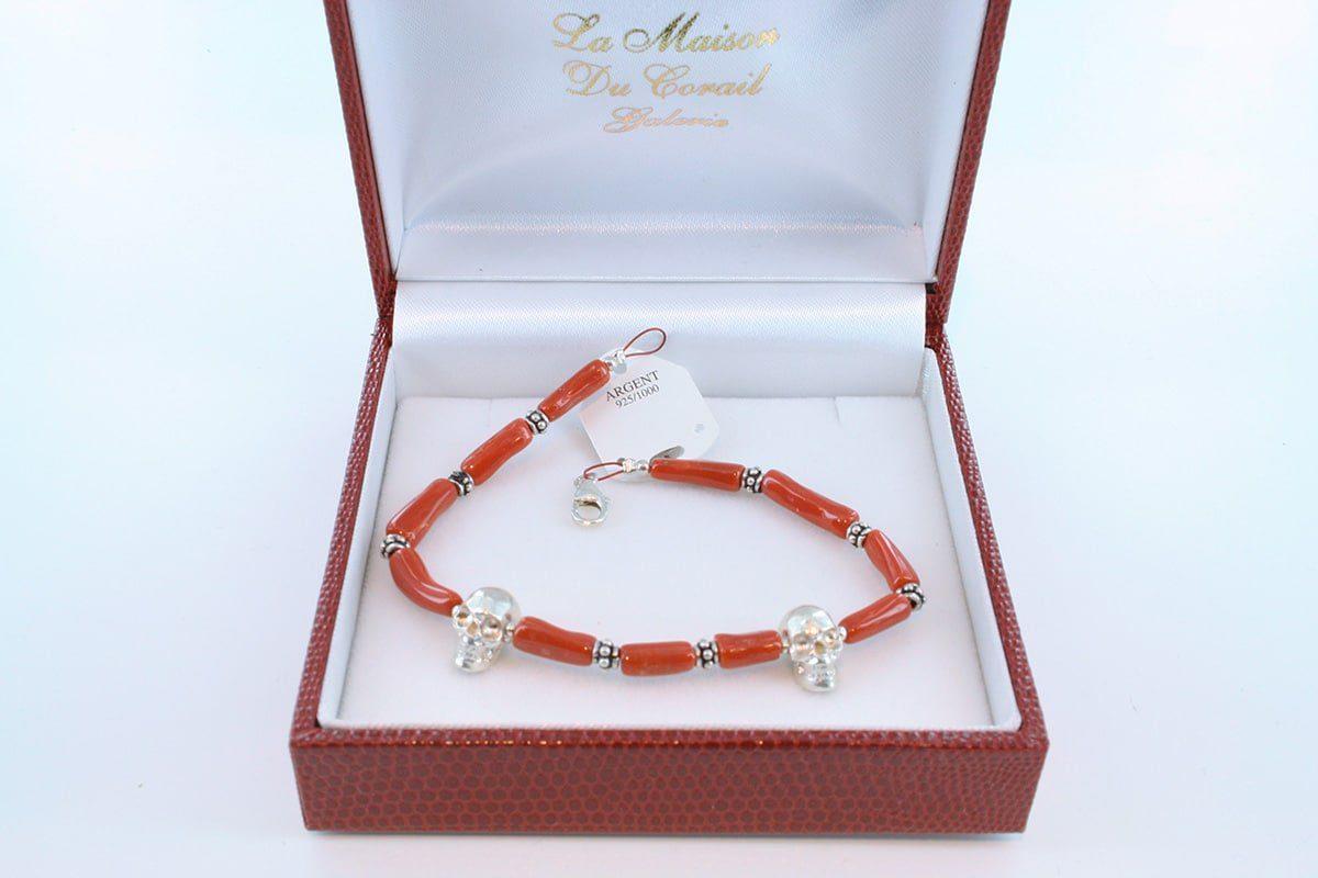 Bracelet en corail rouge véritable de Méditerranée et argent 925 par 1000 BR-CO-AR-025