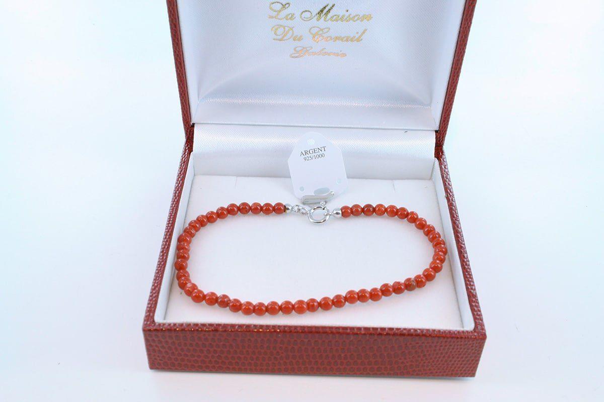 Bracelet en corail rouge véritable de Méditerranée et argent 925 par 1000 BR-CO-AR-030