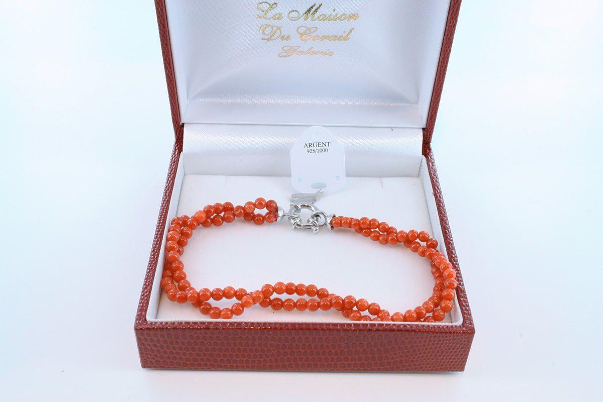 Bracelet en corail rouge véritable de Méditerranée et argent 925 par 1000 BR-CO-AR-038