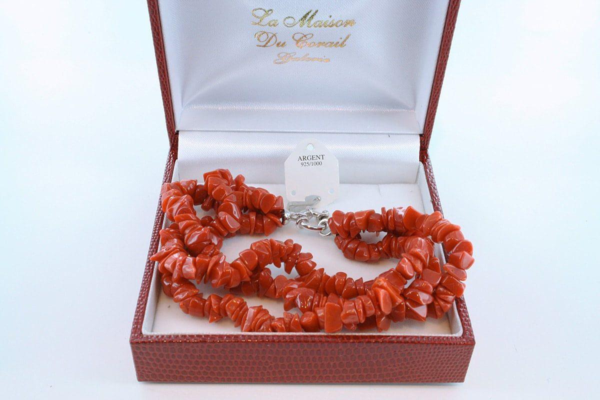Bracelet en corail rouge véritable de Méditerranée et argent 925 par 1000 BR-CO-AR-045