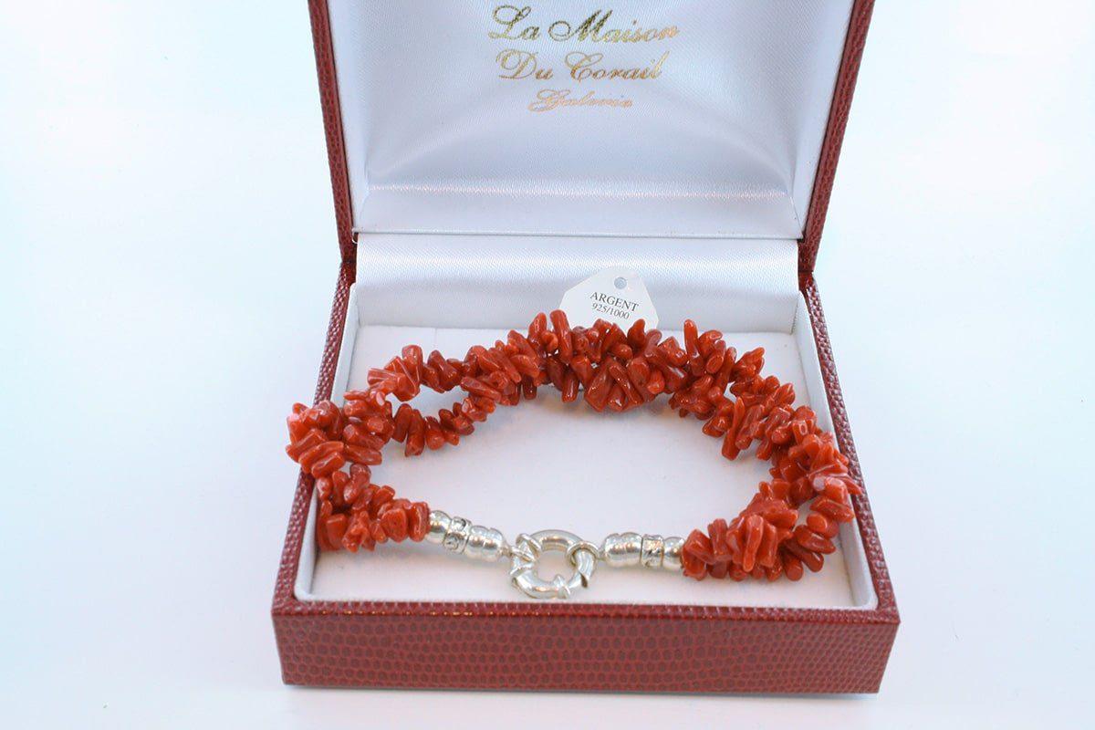 Bracelet en corail rouge véritable de Méditerranée et argent 925 par 1000 BR-CO-AR-047