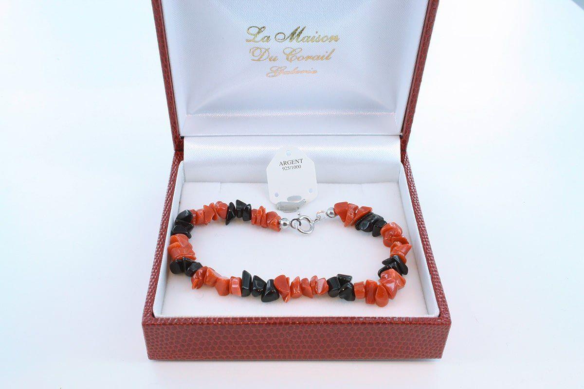 Bracelet en corail rouge véritable de Méditerranée et argent 925 par 1000 BR-CO-AR-053