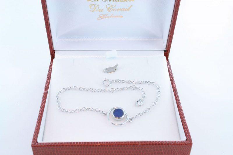 Bracelet en lapis lazuli et argent 925 par 1000 BR-LA-LA-AR-004