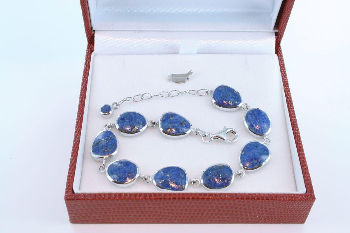 Bracelet en lapis lazuli et argent 925 par 1000 BR-LA-LA-AR-007