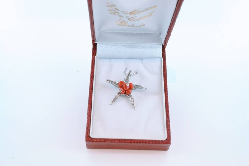 pendentif en corail rouge et argent 925 par 1000 PE-CO-AR-004