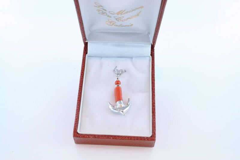 pendentif en corail rouge et argent 925 par 1000 PE-CO-AR-006