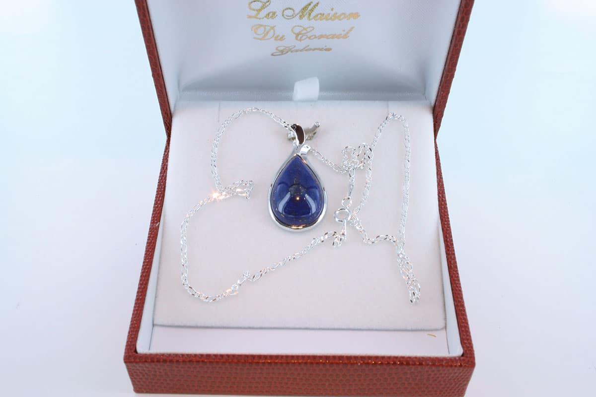 pendentif en lapis lazuli et argent 925 par 1000 PE-LA-LA-AR-002