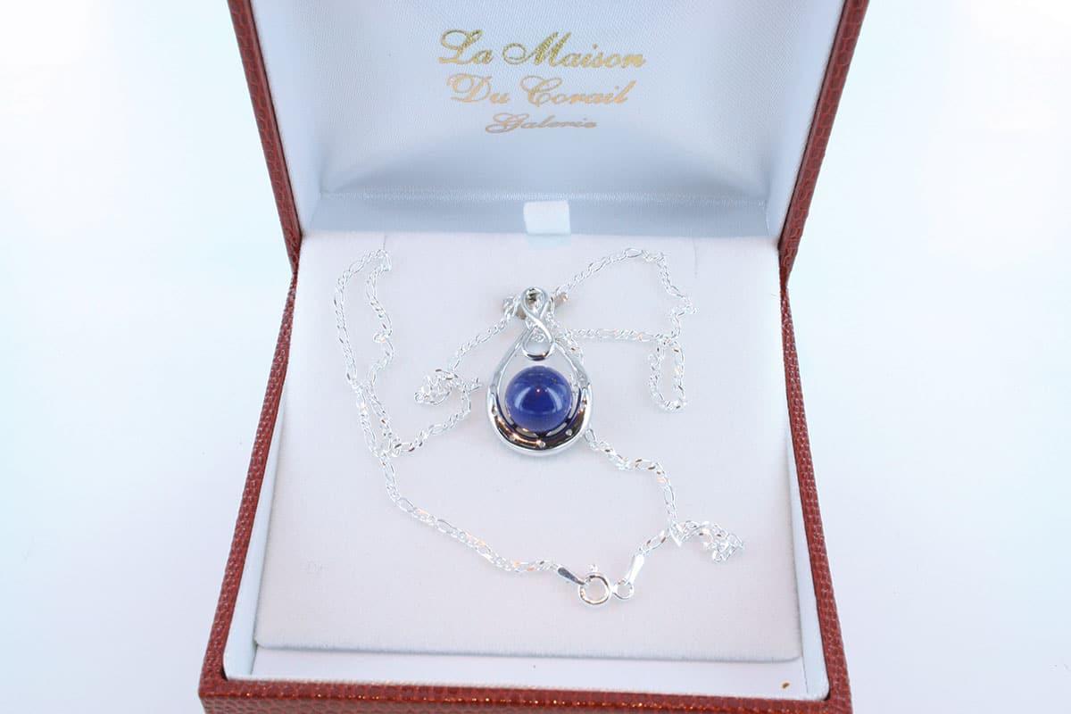 pendentif en lapis lazuli et argent 925 par 1000 PE-LA-LA-AR-004