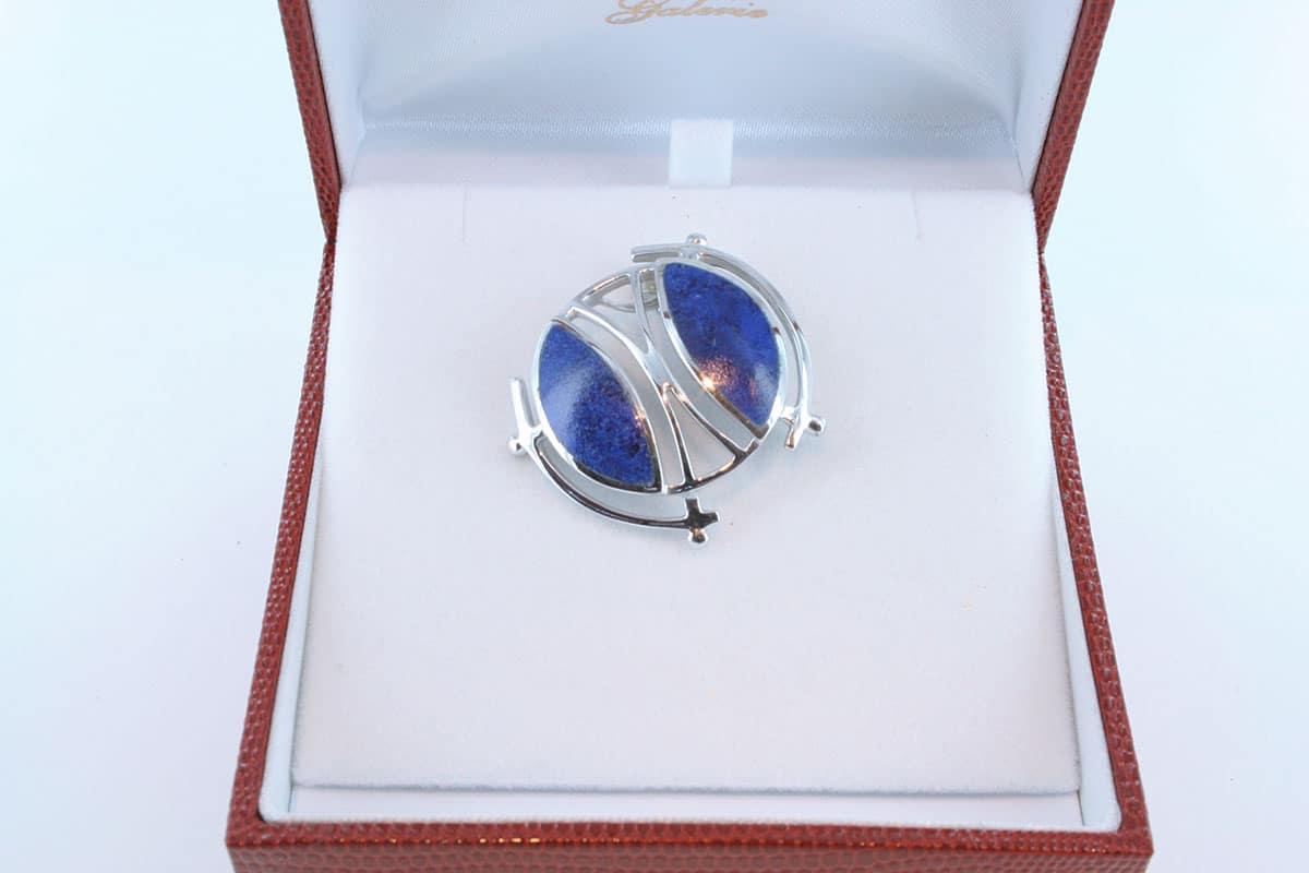 pendentif en lapis lazuli et argent 925 par 1000 PE-LA-LA-AR-013