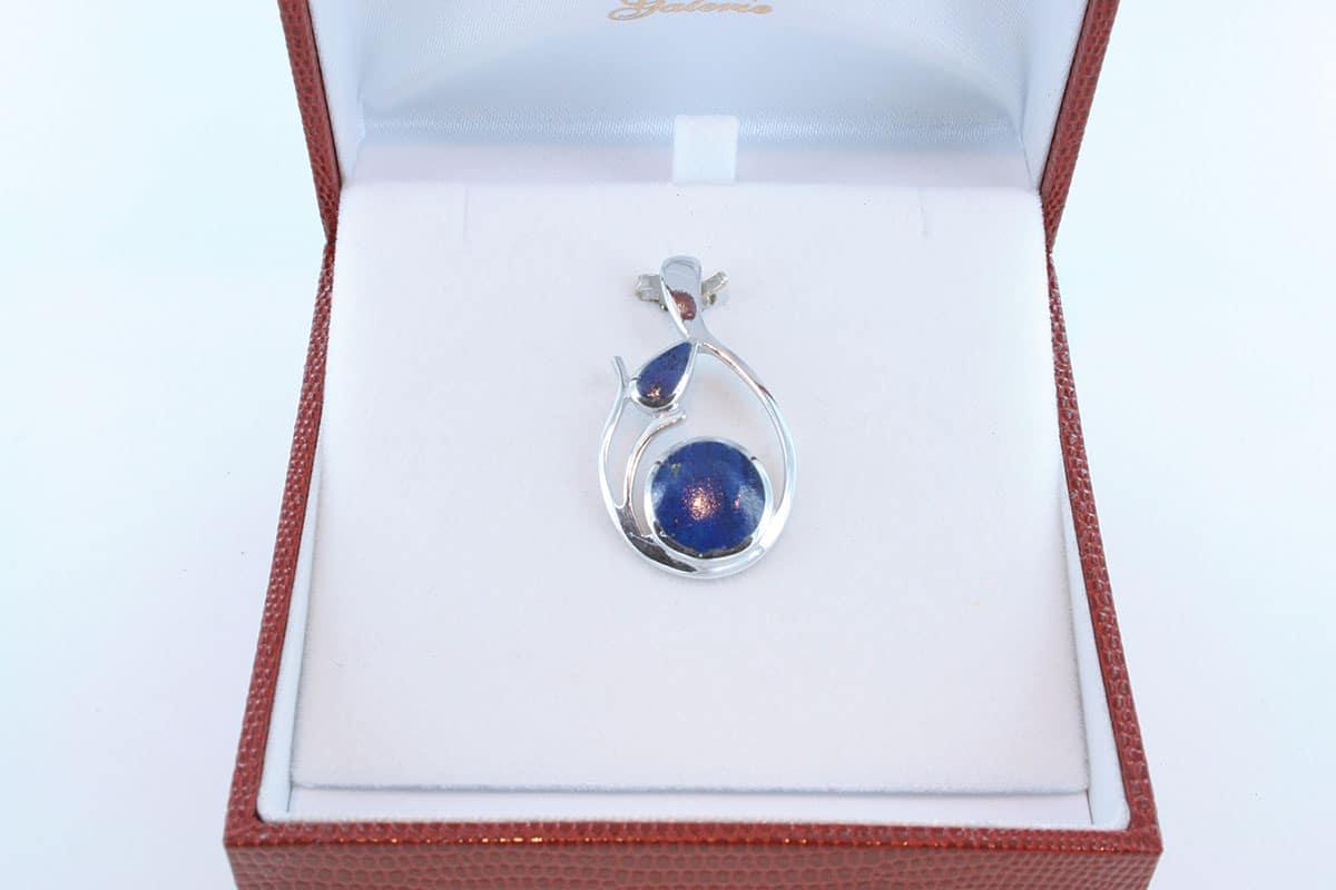 pendentif en lapis lazuli et argent 925 par 1000 PE-LA-LA-AR-014