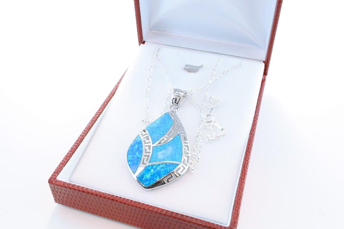 Pendentif en opale et argent 925 par 1000 PE-OP-BL-012