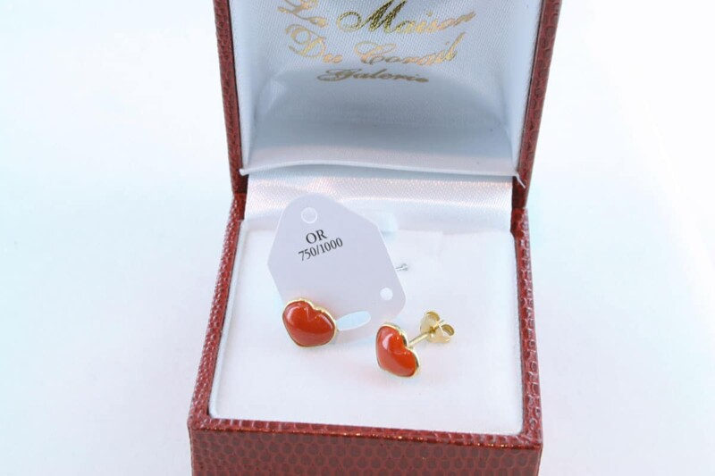 boucles d'oreilles en corail rouge et or 750 par 1000 BO-CO-OR-003