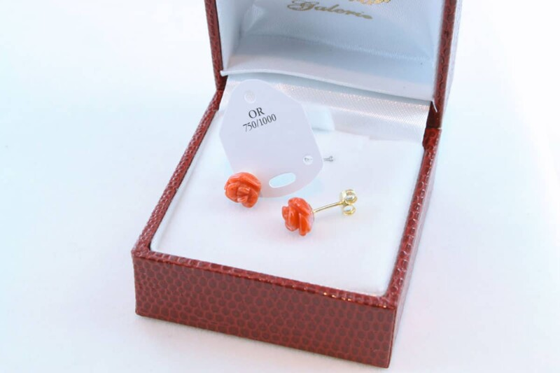 boucles d'oreilles en corail rouge et or 750 par 1000 BO-CO-OR-006