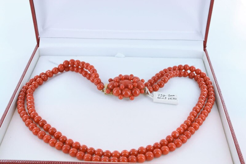 Collier en corail rouge et or 750 par 1000 CO-CO-OR-006