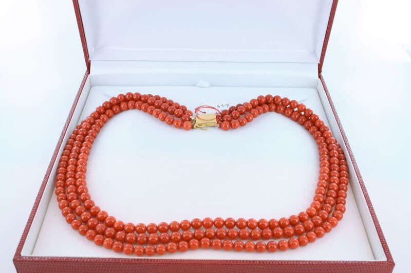 Collier en corail rouge et or 750 par 1000 CO-CO-OR-007
