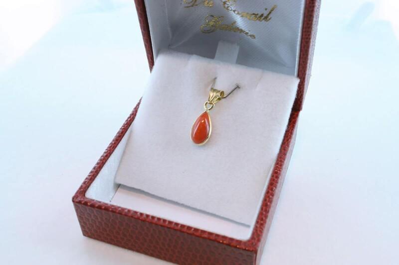Pendentif en corail rouge et or 750 par 1000 PE-CO-OR-016