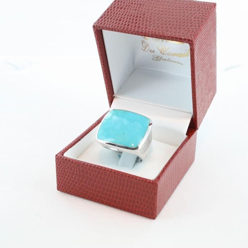 bague en turquoise véritable et argent 925 1000 BA-TU-AR-003