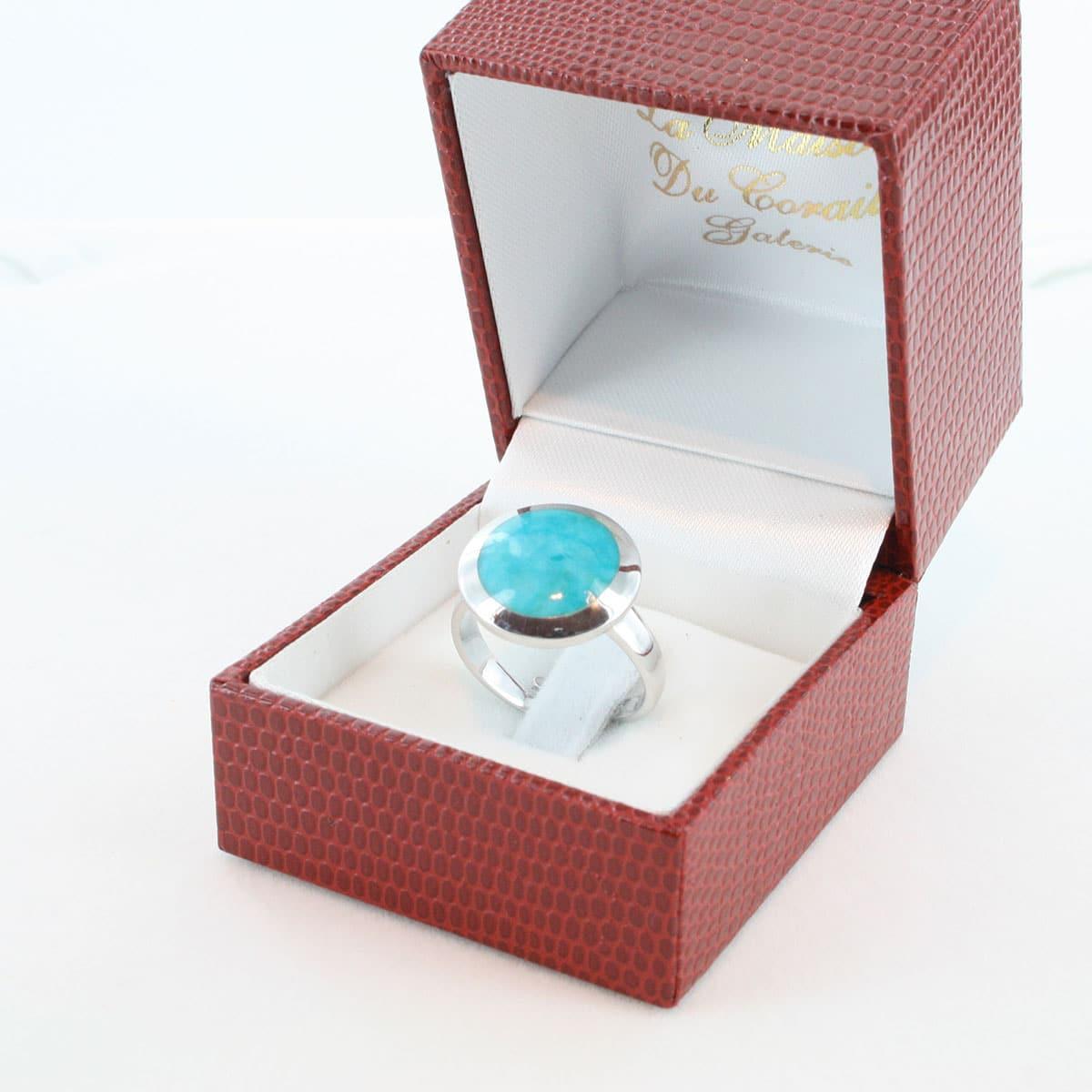 bague en turquoise véritable et argent 925 1000 BA-TU-AR-005