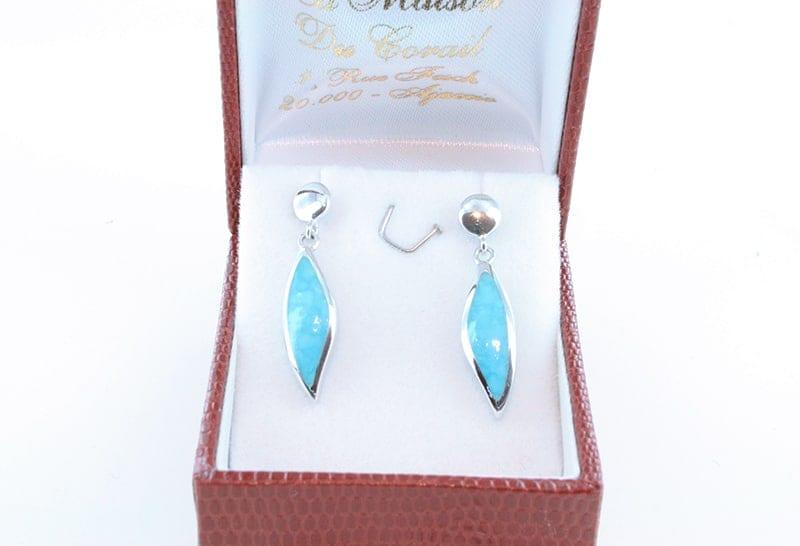 Boucles d'oreilles en turquoise et argent 001