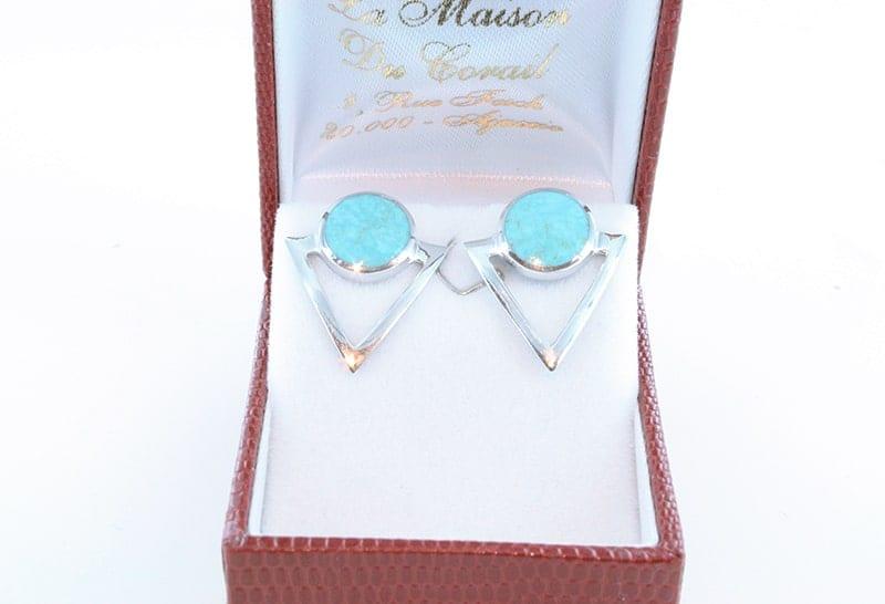 Boucles d'oreilles en turquoise et argent 002