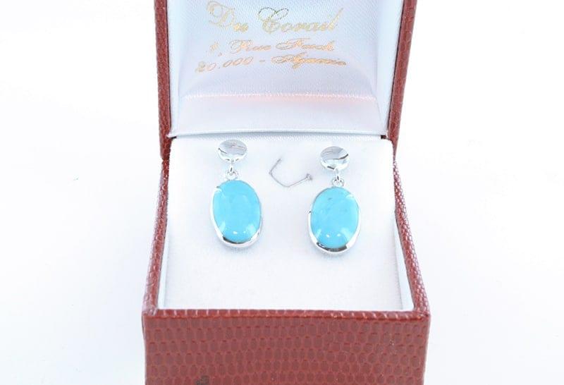 Boucles d'oreilles en turquoise et argent 007