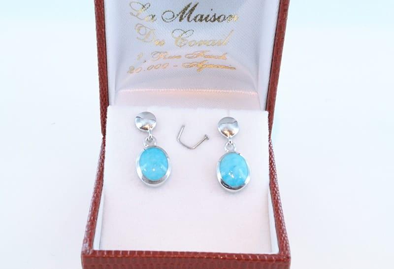 Boucles d'oreilles en turquoise et argent 015